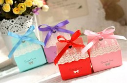 Wholesale 100pcs Sweet Love Wedding Party Baby Shower Favor Gift Ribbon Candy Box Boxes