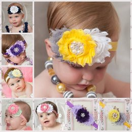 Wholesale Baby Girl Headbands Shabby Chiffon Flower Hair Bow Rhinestone Hairband Headwear Head Band Children s Hair Accessories G020