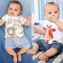 Wholesale Romper bébé girafe Short Bear Romper bébé garçon Barboteuses été rayé Vêtements Bebe De Roupa