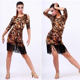 Wholesale 12sets Women s Latin Rumba Ballroom Leopard Long Dress Fringe Tassel Belt Dancewear Off Shoulder Dance Costume TL113