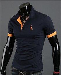 Wholesale 2014 New Casual Men s Slim Fit Stylish Short Sleeve Shirts for man black white red green dark blue yellow M L XL XXL