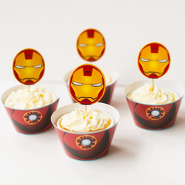 24pcs iron man cupcake wrapper toppers dessert decorator children new year party cupcake decoration ornament items home decor