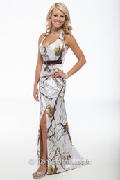 Wholesale Camo Party Dresses Bridesmaid Gown Halter Neck Satin White Snow Camouflage Prom Wedding Homecoming Formal Gown Custom