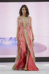 Wholesale 2016 Top Quality Caftan Prom Dresses Marocain Islamic Abaya in Dubai Evening Dress Pink Long Sleeve Evening Gowns Moroccan Kaftan FS25