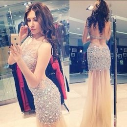 Wholesale Luxury Crystal Backless Prom Evening Dresses Sexy Sheer Neck Champagne Formal Party Pageant Celebrity Gowns Beads Tulle Real Image