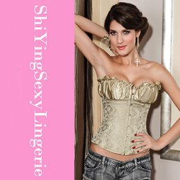 Wholesale Lush Apricot Satin Brocade Full Boned Women Overbust Corset corpete corselet plus size waist training corset better bodies