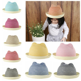 Wholesale 2015 new Fashion Cute Summer Baby Hats Straw Hat Stripes Cat Ears Straw Beach Hat Sun Straw Hat Cap Baby sombrero