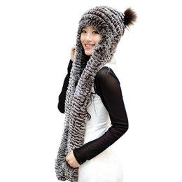 Wholesale Women s Rex Rabbit Fur Hood Hoddie Hats with Mittens Gloves Multicolor