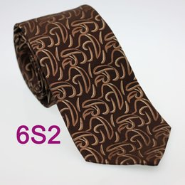 Wholesale ella Men s ties Pure Silk Tie Brown With Coffee Paisley Woven Necktie Formal Neck Tie for dress shirts Wedding