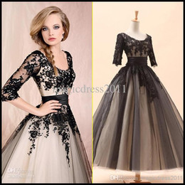 Wholesale IN STOCK White Black Party Prom Dresses with Long sleeve A Line Scoop Appliques Formal Evening Gowns Dresses for Women Knee Length