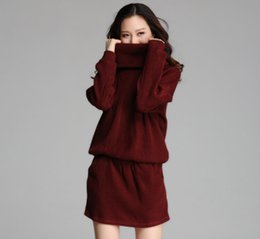 Wholesale XL XL Womens Plus Size Long Sleeved Turtleneck Thickening Autumn Winter Long Sweaters Dress Drop Waist Long Pullover Knitting Sweater