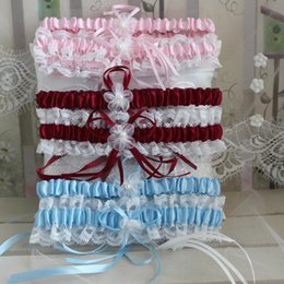 Wholesale Colors Sexy Pink Blue Flower Ribbon Wedding Garter Set Pearl Bridal Leg Garter Belt Lace Bride Accessories