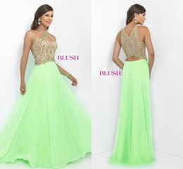 Wholesale charming Lime Green Bridesmaid Dresses Hollow Chiffon Beaded Off The Shoulder Formal Prom Gowns Floor Length A Line Evening Dresses Custom