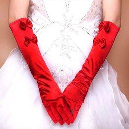 Wholesale 10pairs Elegant Long Elbow Wedding Bridal Elastic Satin Gloves Evening Party Bow Golves Drop shipping HQ0006