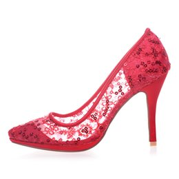 Wholesale Cheap Cinderella High Heels Bling Bling Sequins Hot Lace Wedding Shoes Thin Heel Platform Prom Party