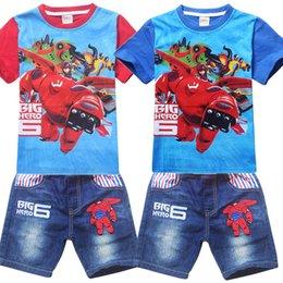 Wholesale Hot sale Newly Cartoon BIG HERO Kids Baymax Short Sleeve T shirts Cute Hiro Baymax Boys Top Tees Fashion Tshirt For Kids yr