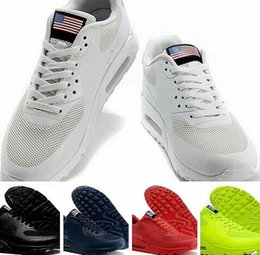 Discount Shoes Run Air Max 2016Trainers Max 90 HYP PRM QS Men Women Running Shoes Air 90 Hyperfuse American Flag Black White Red Navy Blue Gold Silver Pink Sport