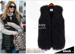 Wholesale Fashion Womens Faux Fur Vest Vintage Trend Celeb Luxury Winter Faux wool Fur Long Waistcoat Vest Coats Wrap sleeveless Jacket Coat WT06