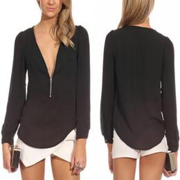 Wholesale 2016 NEW Fashion Arrival Summer Autumn Deep V Neck Long Sleeve Zipper Sexy Chiffon Tops Blouses Women Work Wear Blusas Femininas