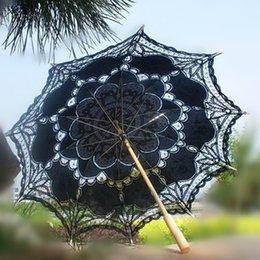 Wholesale Black Elegant Bridal Parasol Sun Umbrella New Arrival Romantic Lace Edge Ribbon in Pink Parasol Umbrella Wedding Bridal