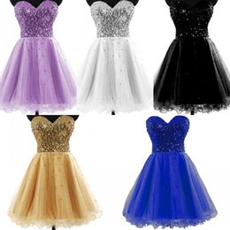 Wholesale In Stock Cheap Homecoming Dresses Gold Black Blue White Sequins Sweetheart A Line Short Tulle Cocktail Party Prom Gowns Real Image