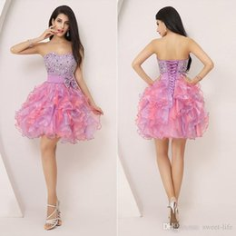 Wholesale 2015 Short Homecoming Dresses Cheap Ball Gown Mint Organza Sweetheart Corset Beading Lilac Prom Party th Graduation Dresses