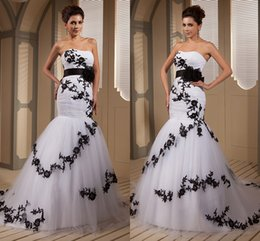 Wholesale 2015 Real Picture Designer Black And White Mermaid Wedding Dresses Bridal Gowns Strapless Appliques Tulle Chapel Train Wedding Gowns wd8485