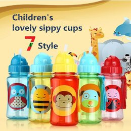 Wholesale Hot Sale kinds Children s Cartoon Animal school drinking straw cups safe non toxic BPA free baby Sports cups Baby Bottle A3