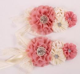 Wholesale 2015 Fashion Chldren Girls Chiffon Flowers Rhinestone Sash Belt Princess Fancy Floral Waist Decoration Belt Pink Beige Dress Sash B3880