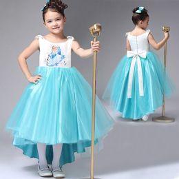 Wholesale EMS DHL little girls Princess Dress Children Party Dress Holiday Lace Tulle Dress Children Clothing Colors Frozen dress