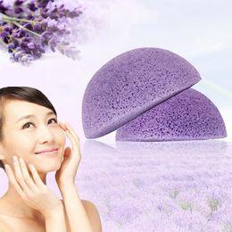 Wholesale Natural Wood Fiber Face Wash Cleansing Sponge Beauty Makeup Tools Accessories Round Purple