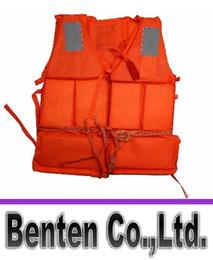 Бесплатная доставка-оранжевой пены Профессиональный плавательный Взрослый спасательный жилет со свистком LLFA2118F