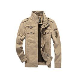 Wholesale Caída de alta calidad de estilo militar Hombres chaqueta militar del Ejército Denim Jacket para hombre Windbreaker al aire libre chaquetas y abrigos más el tamaño M XL