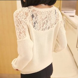 Wholesale NEW Spring summer Sweater women fashion clothes Sexy lace hollow out sweater DF