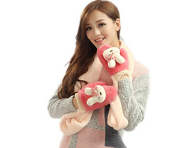 Wholesale Ladies Girls Pulsh Winter Scarve with Gloves Fashion Warmer Scarve Cute Warm Gloves Models mixed sale gqf
