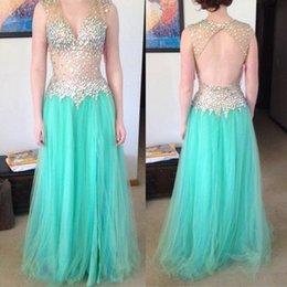 Wholesale Beaded Backless Prom Dress Aqua Sheer Top Cap Sleeve Bare Back Rhinestones Tulle Long Prom Dresses Girls Pageant Dresses