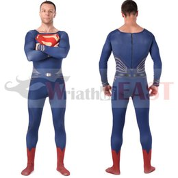 Wholesale 2016 high quality superhero costumes carnival men superman zentai halloween cosplay costumes Lycar spandex bodysuit