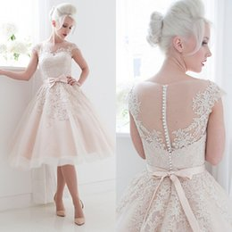 Wholesale 2015 Informal Short Wedding Dress Ball Gown Sheer Bateau Neck Cap Sleeves Lace Appliques Bow Sash Pearls Casual Bridal Gowns
