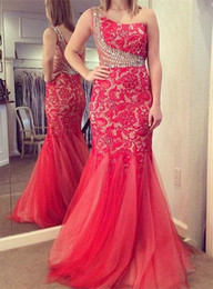 Wholesale Wow One Shoulder Mermaid Evening Dresses With Rhinestone Beaded Lace Red Ruched Tulle Hot Formal Dress Party Prom Gowns For Womens