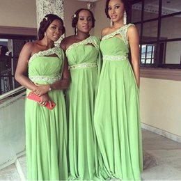 Wholesale Fabulous Lime Green Bridesmaid Dresses Spring Bridesmaids Formal Prom Party Evening Gowns Long Chiffon Beads One Shoulder Beach Wedding