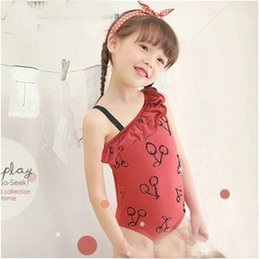 Wholesale 2014 New Arrival Children s Swimwear Girls One piece Swim Suits with Lovely Printed Cherries and a Bathing Cap
