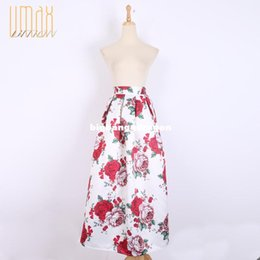 Wholesale 100cm Long Skirt New Fashion Vintage Pleated Printed Ball Gown Maxi Skirt Women s Skirt Muslim Skirt With Pocket A141209