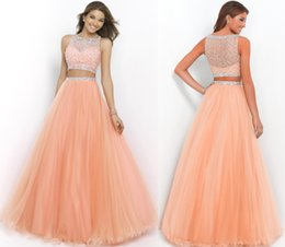 Wholesale In Stock Prom Dresses Charming Two Pieces Formal Party Dress With Shinny Beads A Line Crew Neck Long Tulle Pageant Ball Gowns