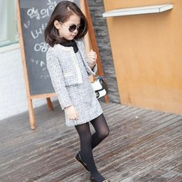 Wholesale Girls Baby Childrens Woolen Outfits Sets Kids Clothes New Atumn Winter Cardigan Coat and Dress Sets ZZ