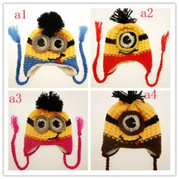 Wholesale 4 Design Despicable me crochet hats NEW children cartoon minions Costume Handmade Crochet Knitted Hat Animal Mouse Head Cap