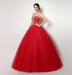 Wholesale Cheap In Stock Red Quinceanera Dresses Girls Ball Gown Sweetheart Corset Crystal Beads Princess Pageant Gowns Sweet Dress