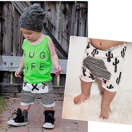 Wholesale 5pcs summer style kikikids baby harem pants Cactus Stripe Cross printed kids shorts pants INS brand girls boys clothes HX