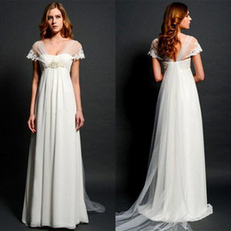 Wholesale 2015 Latest Empire Maternity Wedding Dresses Eiffelbride with Sexy Shining Beaded Lace Waist and Unique Cap Sleeve Long Train Bridal Gowns
