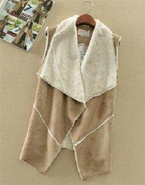 Wholesale 2014 Single Manteau Autumn Suede Fabric Cotton Vest Jacket Coat Fashion Women Wear Casual Cardigans Outwear Female Warm Vests