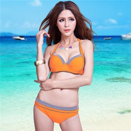 Wholesale High Quality Brand Sexy Women Plus Size Halter Padded Bikini Swimwear Patchwork Biqiuni Stripe Bikinis Set Swimsuit Bathing Suit XL XXL XXXL